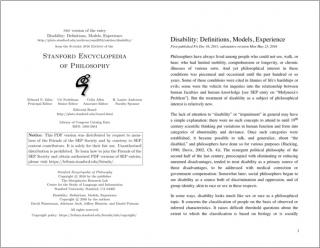 Disability: Definitions, Models, Experience cover document image